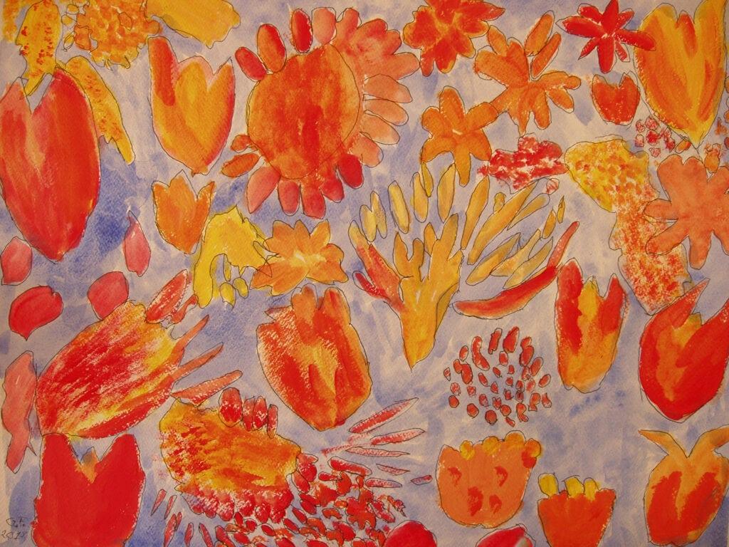 Måleri.  En färgsprakande målning med en semitransparent marinblå bakgrund. Halv-abstrakta blomstermönster i gula, röda och orangea toner är spridda över målningen. Blomsterhuvudena har olika former, en del påminner om glödande klöver, brinnande blåklint och knallröda kronblad.