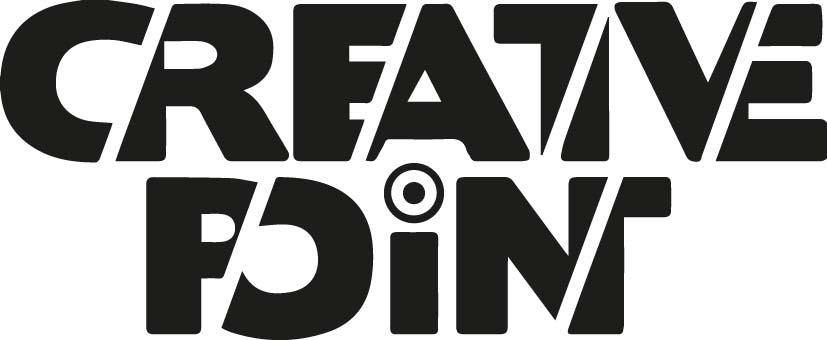 En svart och fet blocktext med namnet Creative Point i två rader. Några vertikala vita sträck skär mellan bokstäverna så de nästan ser ut att sitta ihop.