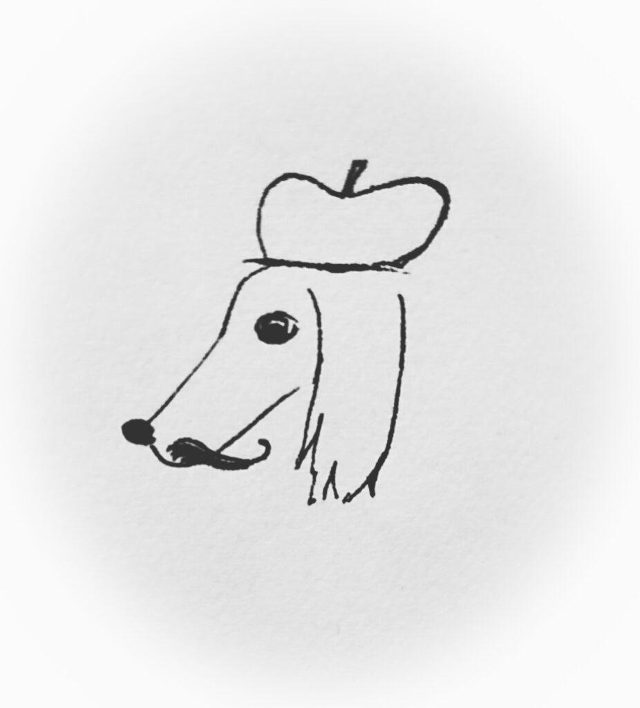 En ritad bild i svarta konturer på ett hundhuvud i profil. Hunden har lång nos och långa öron, en basker på huvudet och S-formad mustasch.