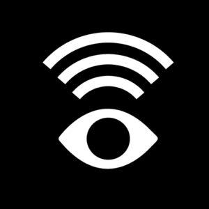 Symbolen för syntolkning. Mot en svart bakgrund syns ett vitt öga som tittar på oss. Ovanför ögat är tre bågliknande ljudvågor markerade