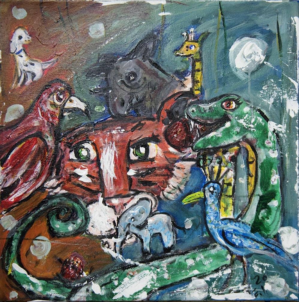 Måleri Många djur.  I mitten av bilden ett ansikte av ett rött vilddjur med nos, morrhår och stora svarta ögon, kanske en tiger, den ser rakt fram. Vid ena sidan ringlar en grön orm med vita prickar, den reser på sitt huvud och öppnar munnen, kanske ler den. Den tittar glatt mot andra sidan, på en stor röd fågel med böjd näbb, den tittar tillbaka med bestämd blick.  Framför dem finns en mycket liten ljusblå elefant och en mellanblå fågel med långa ben, lång näbb och några fjädrar som står rakt upp på huvudet. I bakgrunden skymtar en liten vit hund, den tittar på en gråbrun åsna, vid sidan står en gul giraff. Längst bak finns en röd färg som mitt i övergår till en grönblå. Över hela bilden, finns tio vita runda färgfläckar, placerade här och var, det ger en känsla av myllrande liv.
