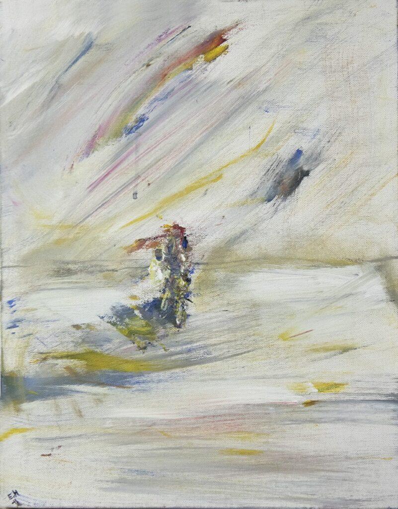 Måleri.   Med blå, gul, röd och vit färg i samma pensel skapas ett plötsligt avtryck. Det blir som ett nedslag mitt i bilden. Det går inte att se vad det är.  Det är inte stort, men kraftfullt. Kanske är det en indian, eller kanske en motorcykel?    Det är blått, och det sticker ut smala spår av rött och gult.  Kraftfulla penseldrag sveper fram över hela bilden, som om det blåser en stark vind.  Det mesta är vitt, med tunna gula, blåa och röda färgstråk som blandar sig i.  I bakgrunden finns en antydan till horisont, allt är ljust och vindpinat.