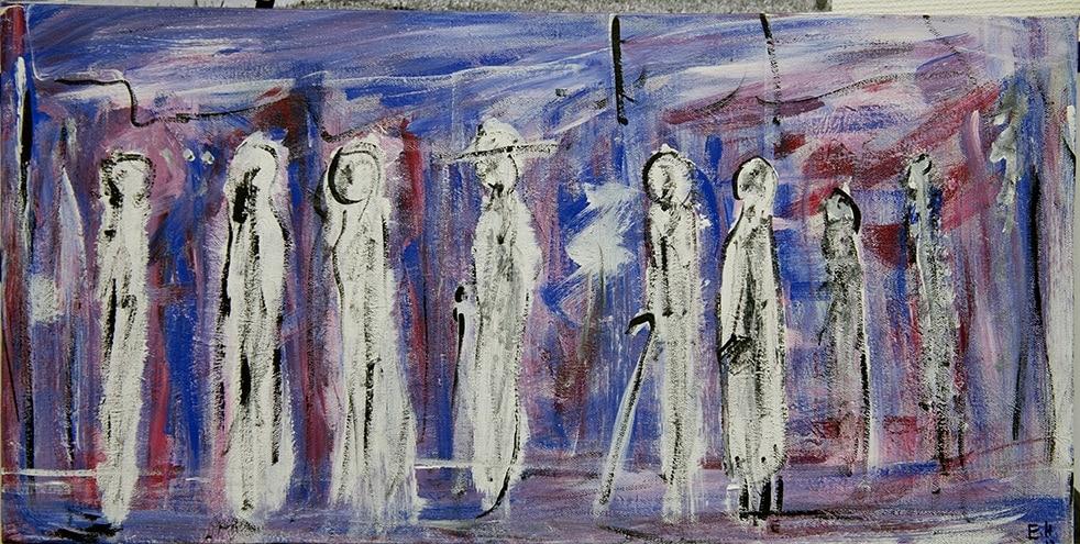 Måleri Nio figurer på promenad. Alla är skissartat målade med svarta lätta penseldrag, papperets vita färg blir deras kroppar.   Det gör att figurerna blir både tydliga och otydliga samtidigt.  Alla går en och en, efter varandra.  som längs en trottoar, de har käppar och hatt.  I bakgrunden breda penseldrag av mycket tunn röd och tunn blå färg.  Penseldragen är spänstiga och rör sig runt figurerna, kors och tvärs över vartannat.  Svarta tunna lodräta linjer antyder en fasad, papperets vita färg anas bakom färgen och gör bilden full av ljus.